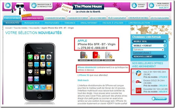 iphone sfr bouygues virgin mobile via the phone house. Black Bedroom Furniture Sets. Home Design Ideas