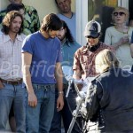 "**EXCLUSIVE** FIRST ON SET PHOTOS - Ashton Kutcher channels Steve Jobs for the first day of shooting ""Jobs"" at the tech moguls childhood home"