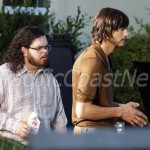 "**EXCLUSIVE** FIRST ON SET PHOTOS - Ashton Kutcher channels Steve Jobs for the first day of shooting ""Jobs"" at the tech moguls childhood home with co-star Josh Gad"