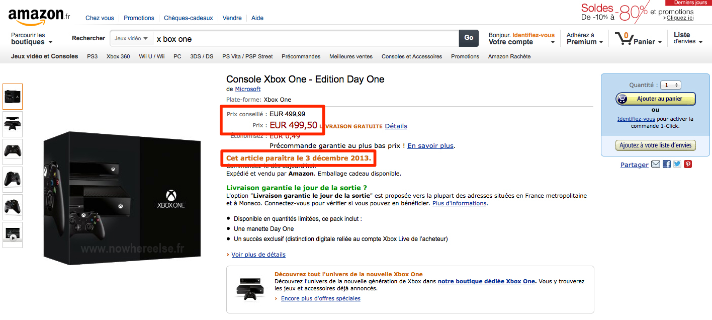 xbox one date de sortie et prix selon amazon. Black Bedroom Furniture Sets. Home Design Ideas