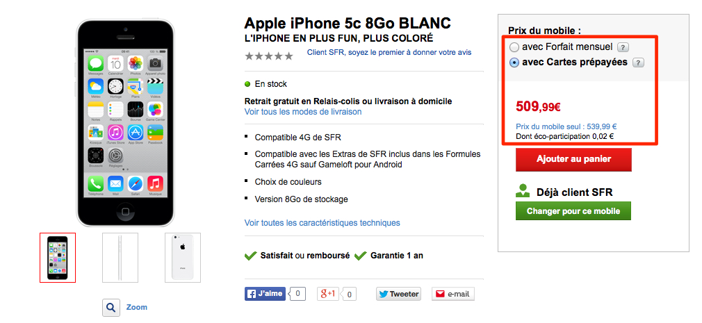 iphone 5c prix du mod le 8go chez orange et sfr. Black Bedroom Furniture Sets. Home Design Ideas